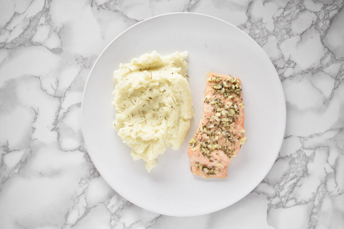 Garlic Butter Salmon Fillet with Mashed Cauliflower