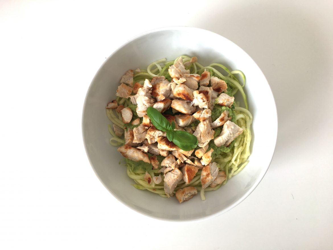 Spiralized Avocado and Chicken Pasta