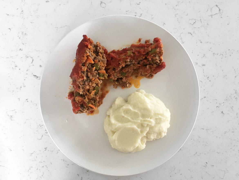 Tasty Meatloaf and Cauliflower Mash